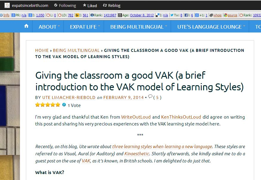 Giving the classroom a good VAK - post for Expatsincebirth