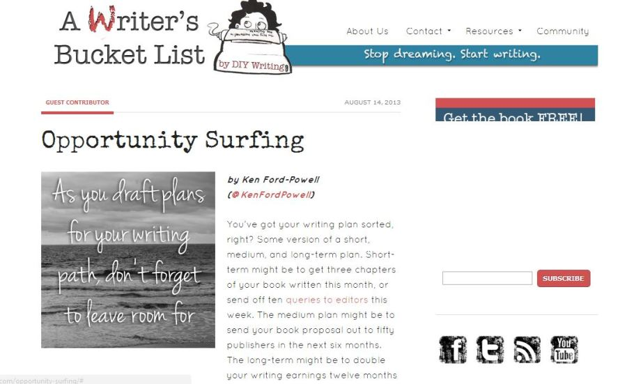 Writers Bucket List - Opportunity Surfing
